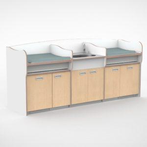 Castilo meubelmakers commode 275cm met babybadje en deuren